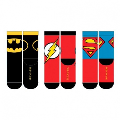 Pack 3 calcetines adulto Liga de la justicia