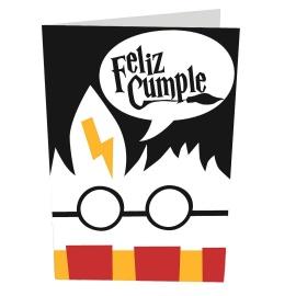 Tarjeta felicitación cumpleaños Harry Potter