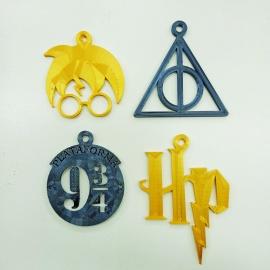 Pack 4 Adornos navidad Harry Potter